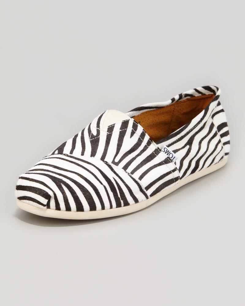 TOMS Zebra-Print Calf Hair Slipper, Black/White
