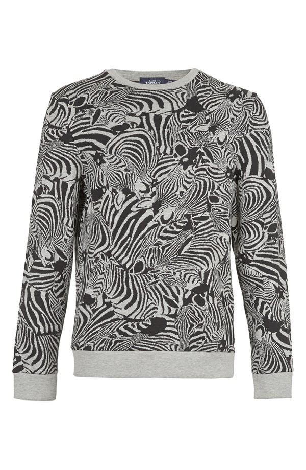 Topman Zebra Print Crewneck Sweatshirt