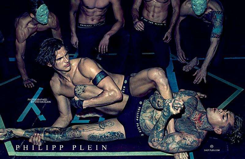 Stephen James & Brent Clancy Wrestle for Phillip Plein Spring/Summer 2014 Underwear Campaign