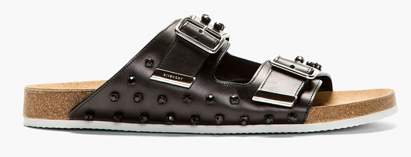 GIVENCHY BLACK LEATHER CRYSTAL EMBELLISHMENTS SLIP-ON SANDALS