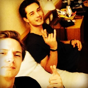 Linus Gustin and Francisco Lachowski pose for an Instagram photo.
