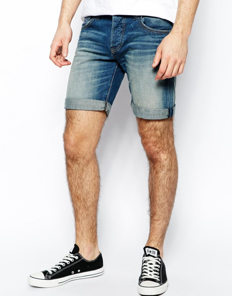 Pepe Denim Shorts Cane Slim Fit Dirty Wash from ASOS