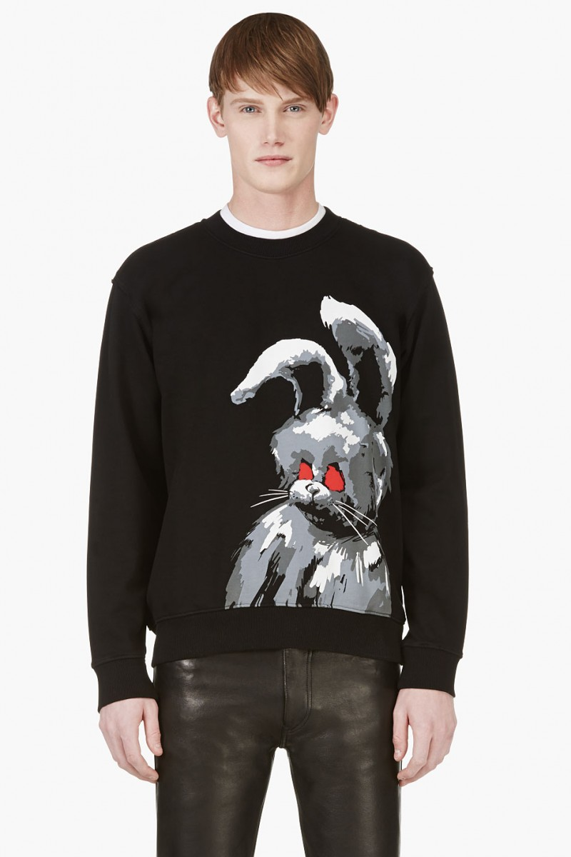 McQ by Alexander McQueen Black Angry Bunny Printed Sweatshirt from SSENSE