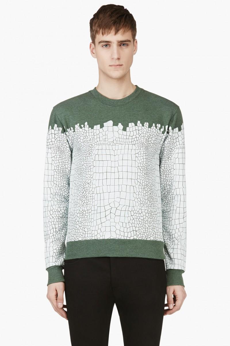 KRISVANASSCHE White & Green Croc Print Sweatshirt from SSENSE