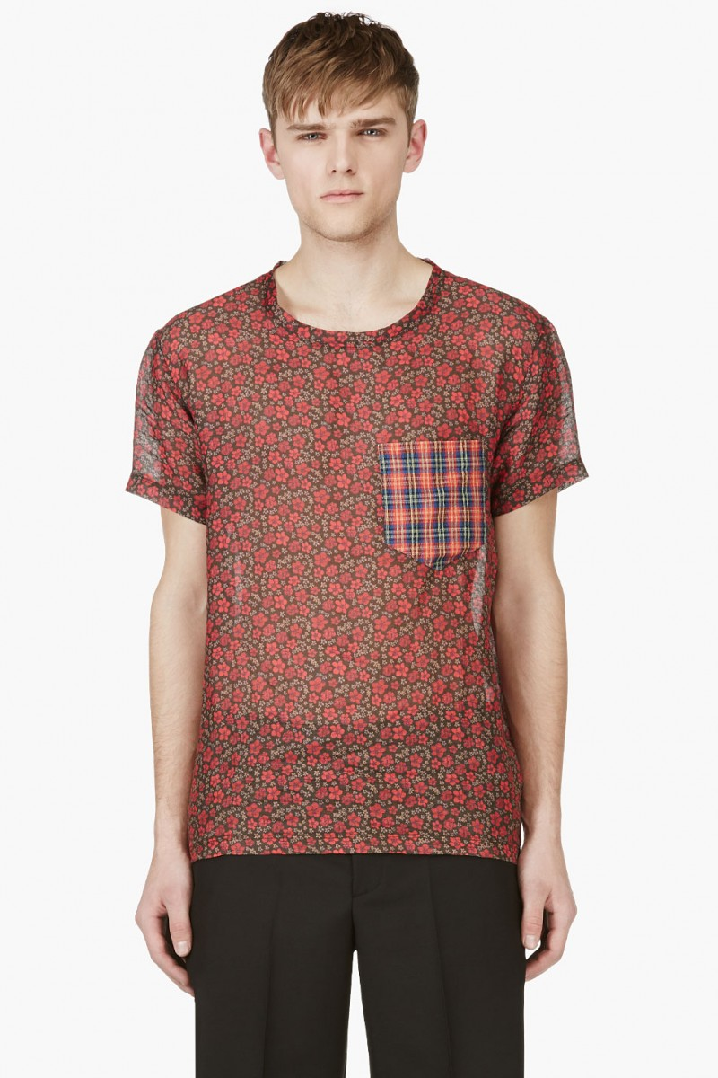 MARC JACOBS RED FLORAL PRINT T-SHIRT