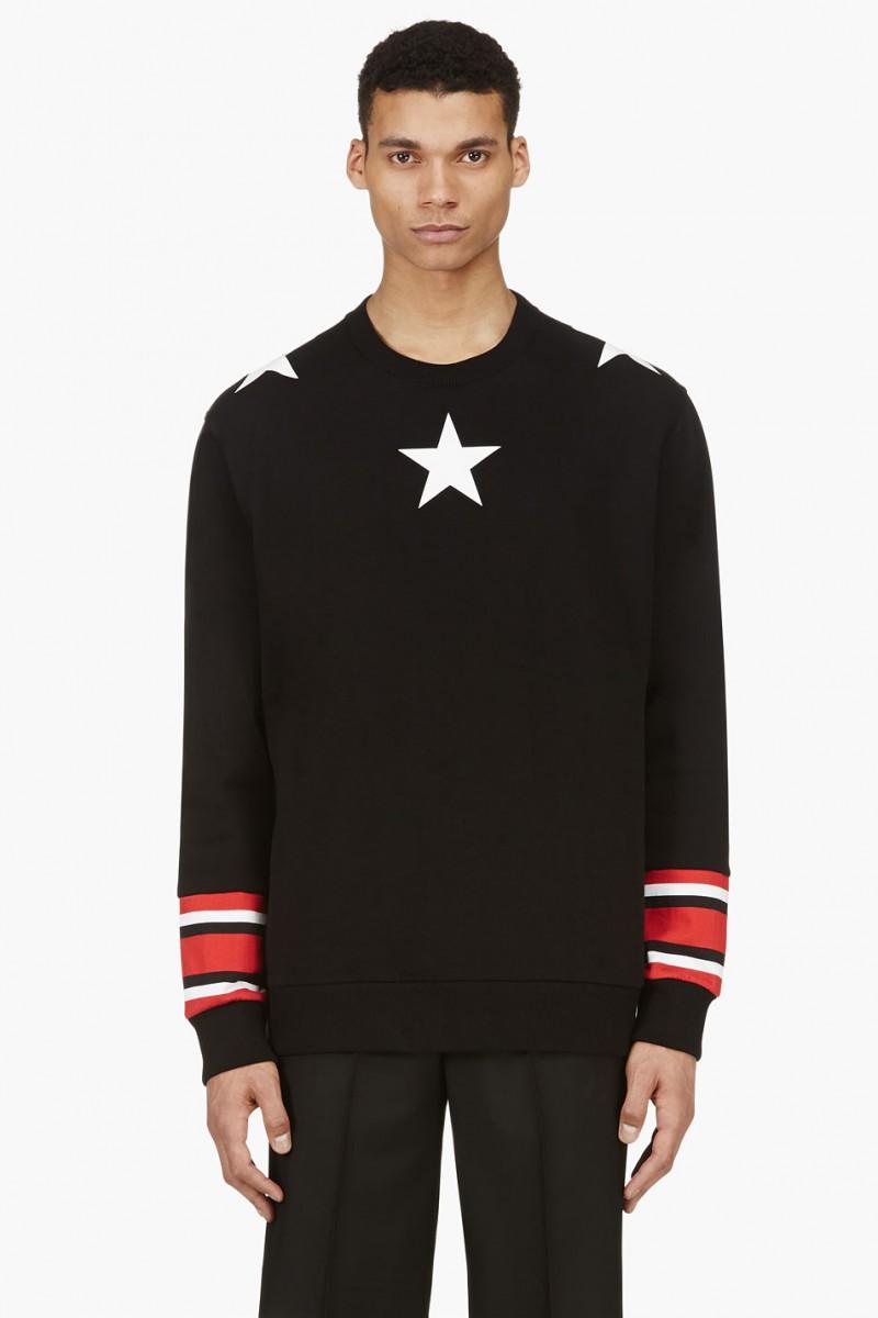 Givenchy Black Star & Stripe Print Sweatshirt from SSENSE