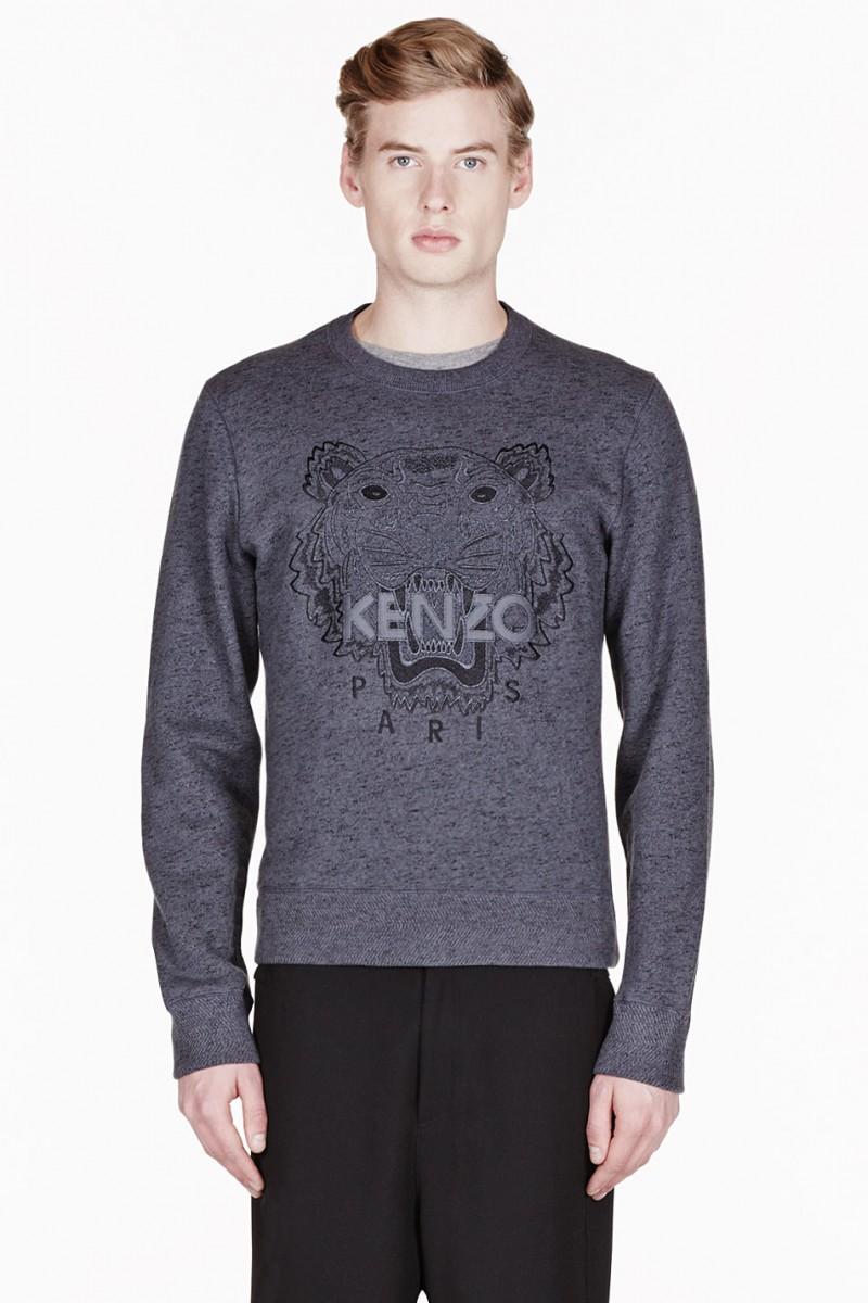 Kenzo Charcoal Grey Slub Tiger-Embroidered Sweatshirt from SSENSE