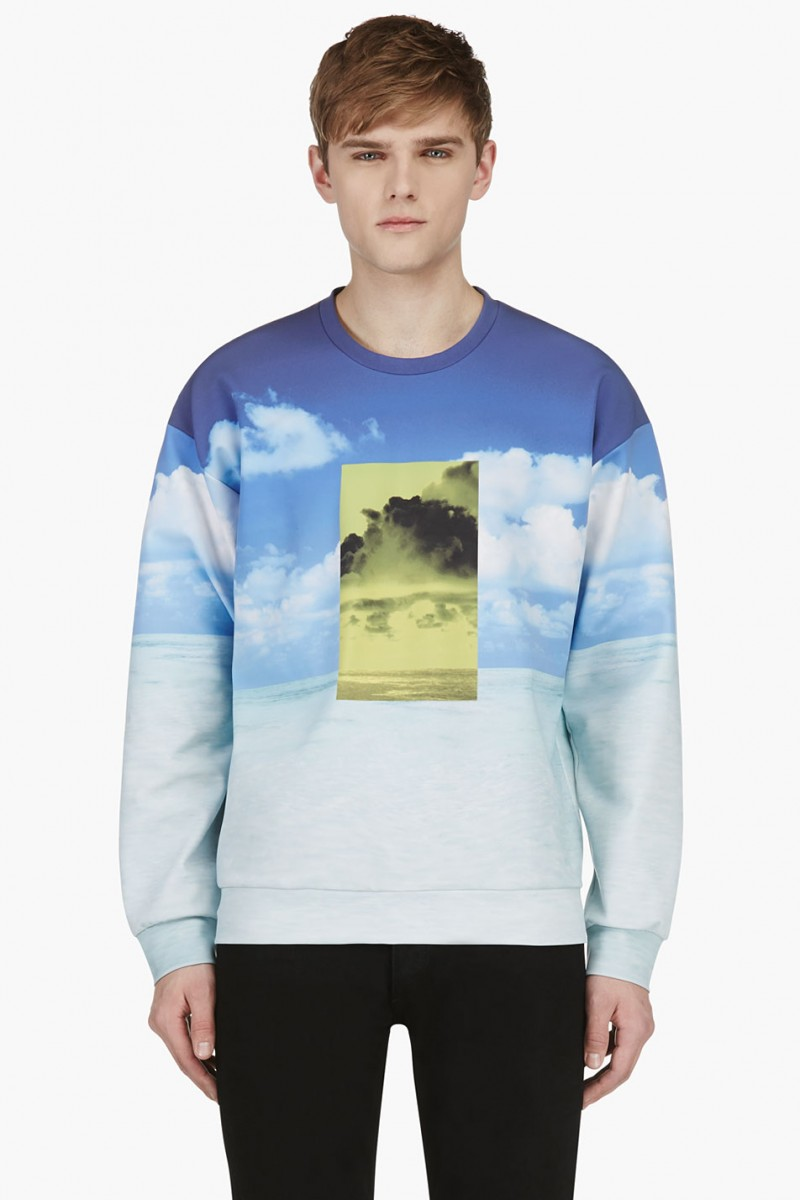 Calvin Klein Collection SSENSE Exclusive Blue Long Sleeve Ocean Print Sweatshirt from SSENSE