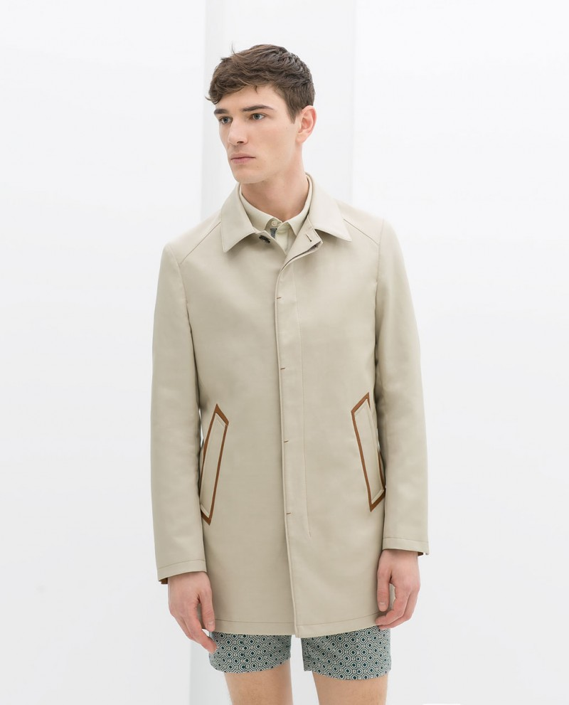 Short Trench Coat with Pocket Edging from ZARA