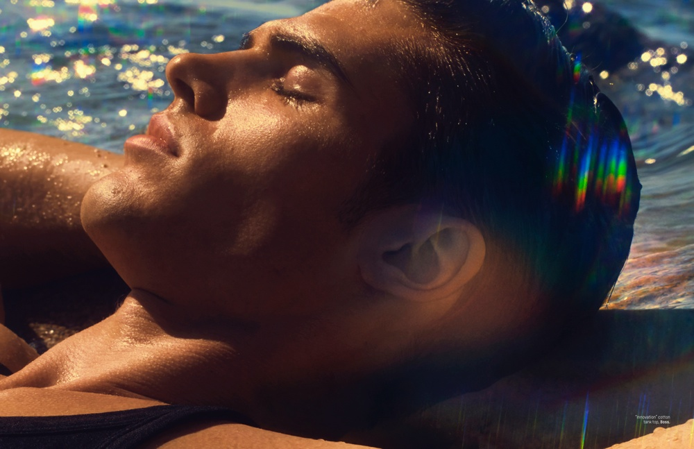 Brian Shimansky Tempts with 28-page Summer Paradise for L'Officiel Hommes Singapore