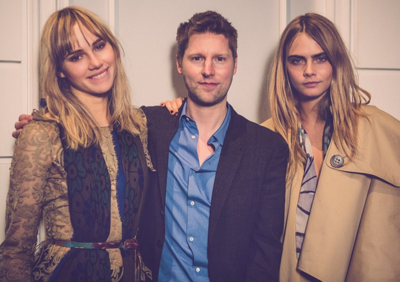 Cara Delevingne, Christopher Bailey and Suki Waterhouse