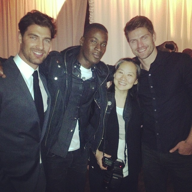 Cory Bond, David Agbodji and Michael Camiloto pose with Betty Sze of Models.com at Jeffrey Cares event.