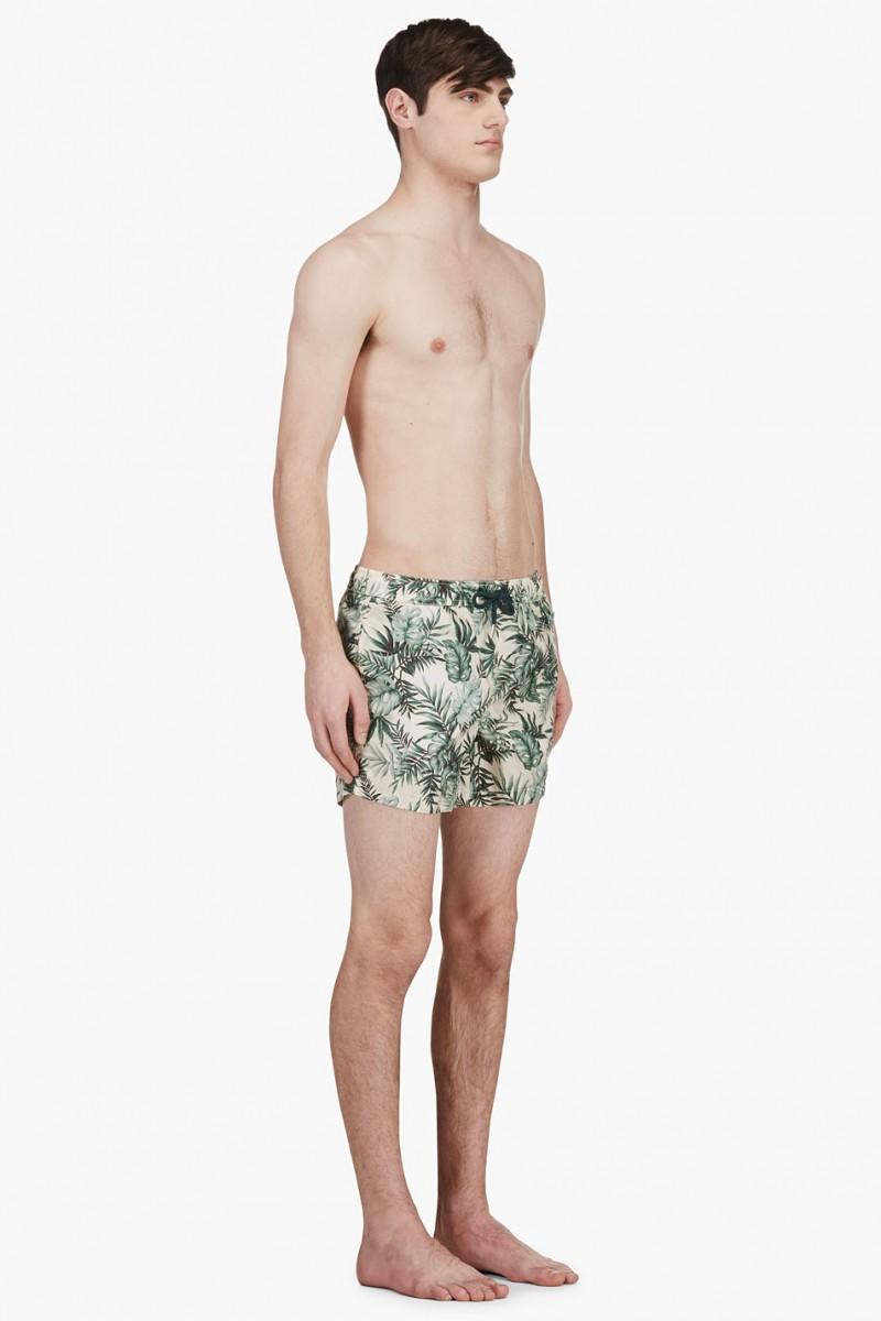 Moncler Green Botanical Print Swim Shorts