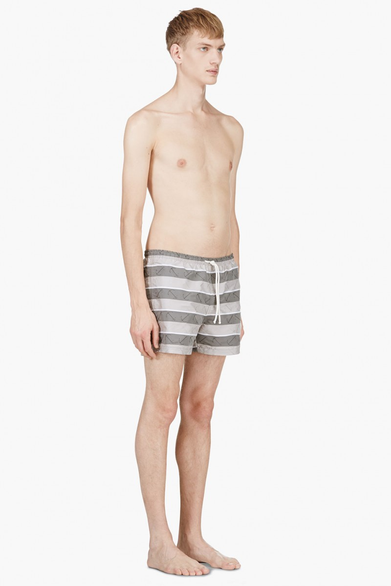 Thom Browne Grey Striped Anchor Print Swim Shorts