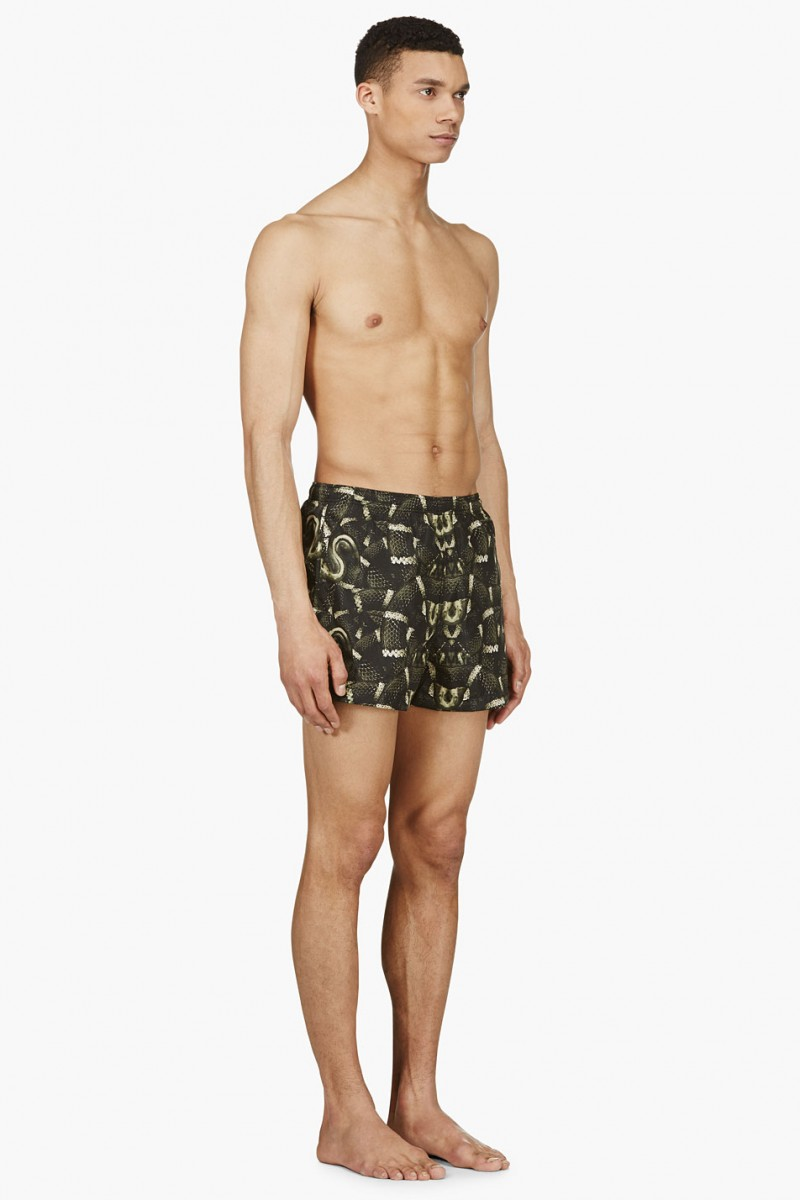 Marcelo Burlon County of Milan Green & Black Snake Print Swim Shorts