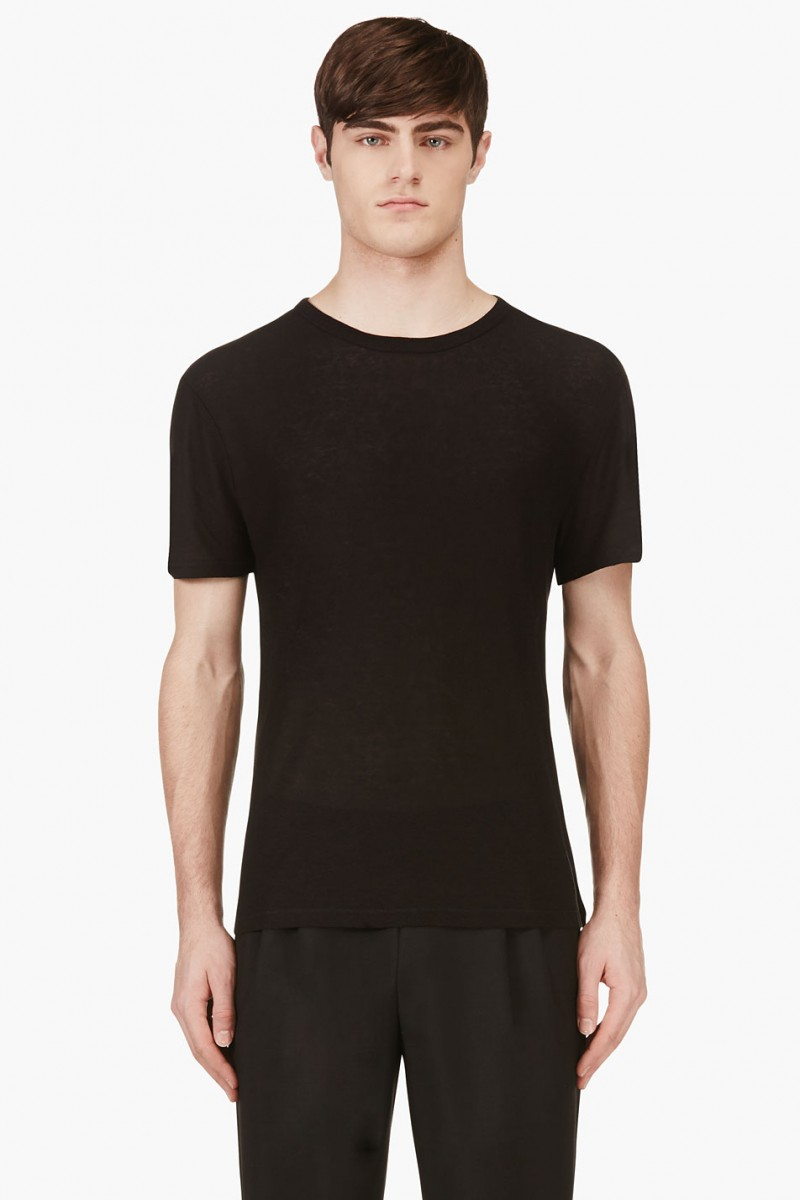 T by Alexander Wang Black Silk Slub Jersey T-Shirt