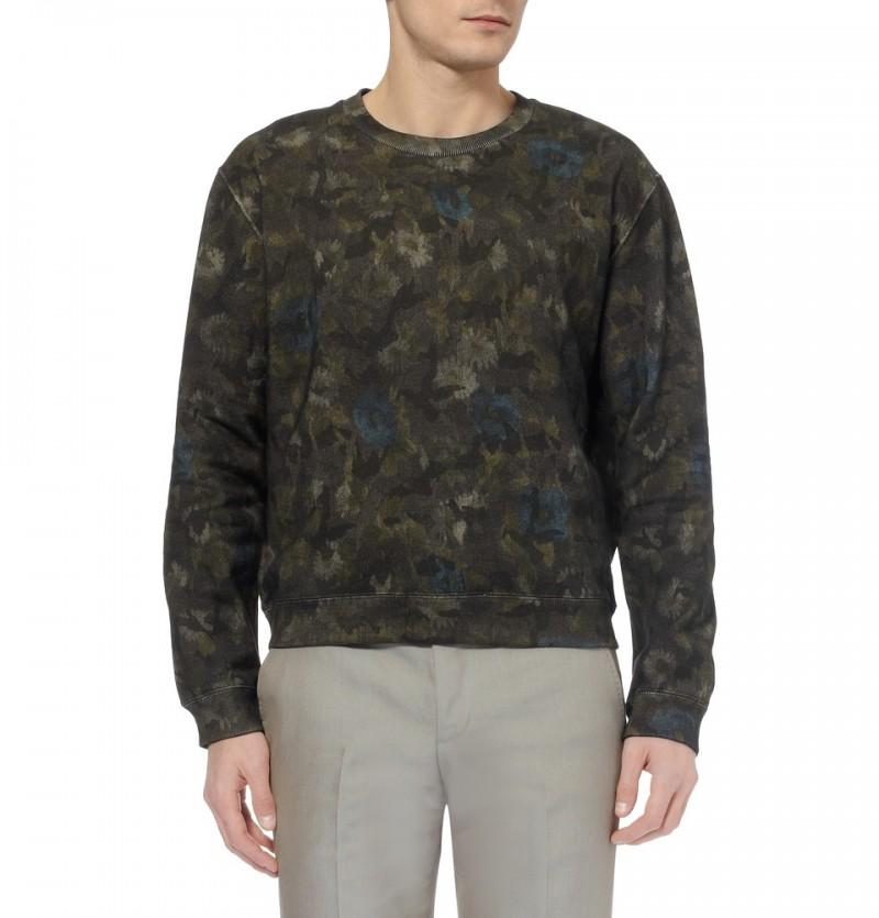 Valentino Flower and Camouflage Print Cotton Jersey Sweatshirt