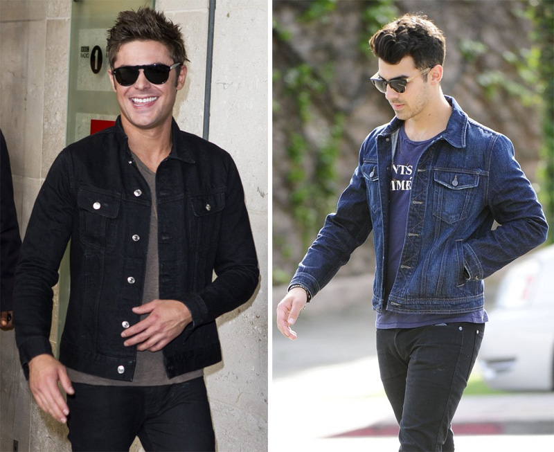 Zac Efron + Joe Jonas in Denim Jackets