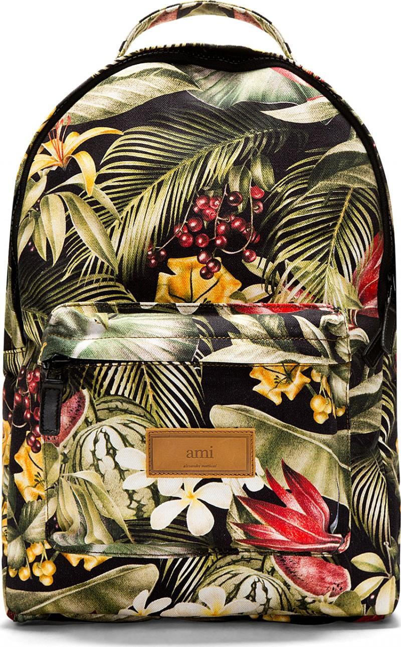Ami Green Botanical Print Backpack