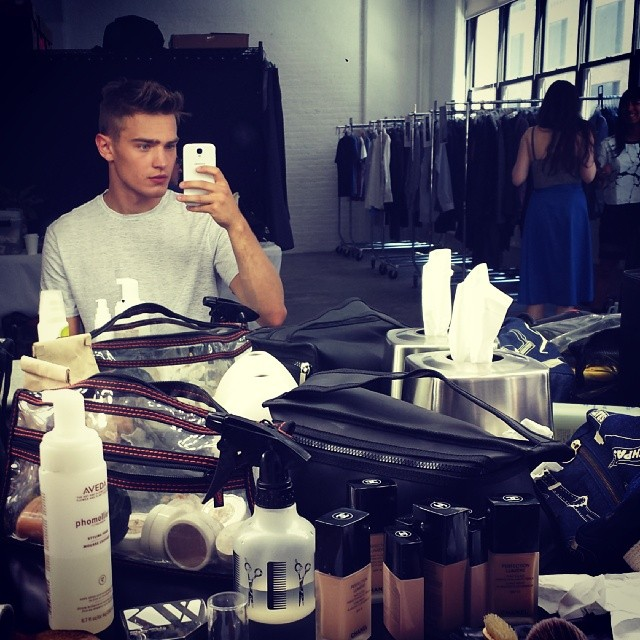 Bo Develius Instagrams from the makeup chair. Nordies shoot!