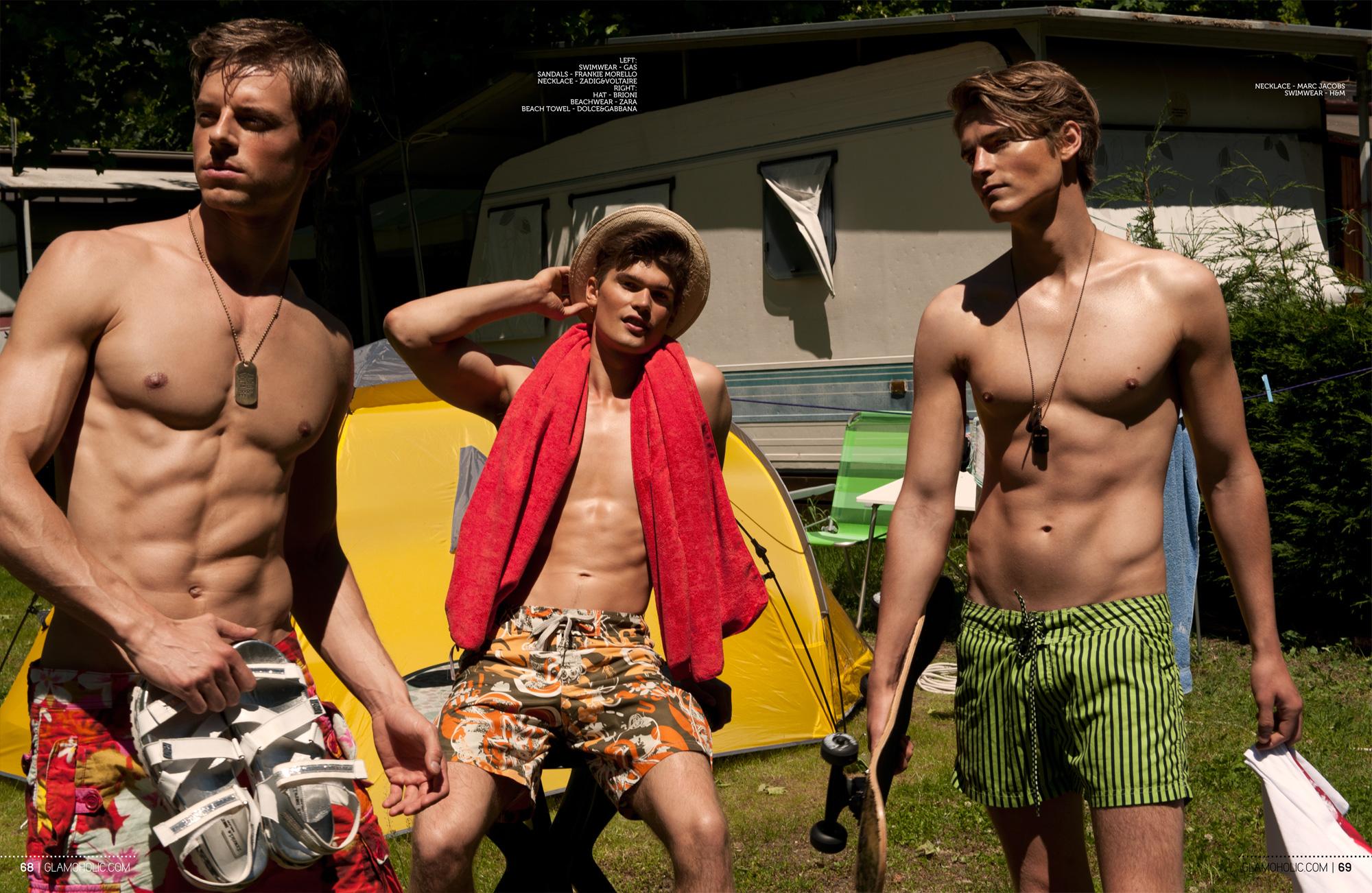 Hello Sun! Anton Worman, Jon Hjelholt + Martin Pichler Model Swimwear for Glamoholic