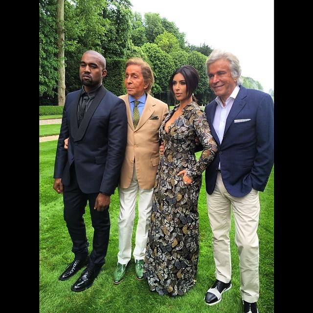 Kanye West, Valentino Garavani, Kim Kardashian and Giancarlo Giammetti pose for a photo
