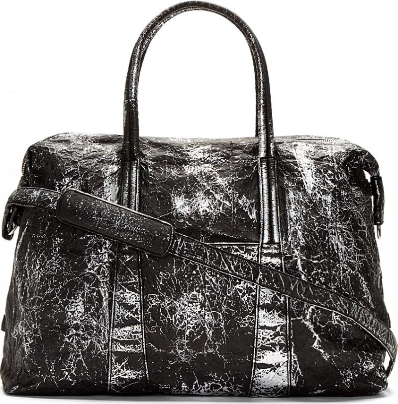 Maison Martina Margiela Black Cracked Metallic Duffle Bag