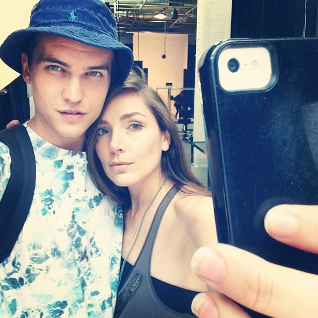 Model Paris Nicholas on set with photographer Shannon Sinclair