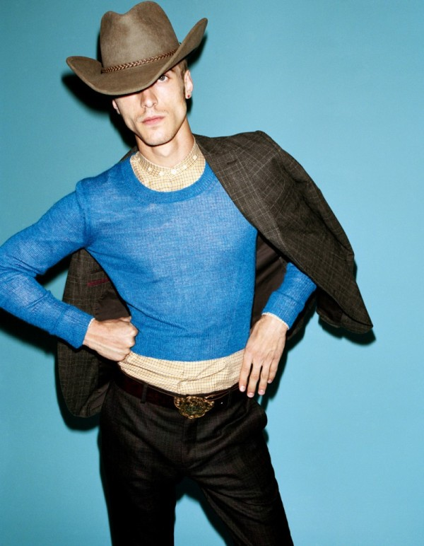 French model Clément Chabernaud presents a fashion-forward cowboy look for Velvet magazine.