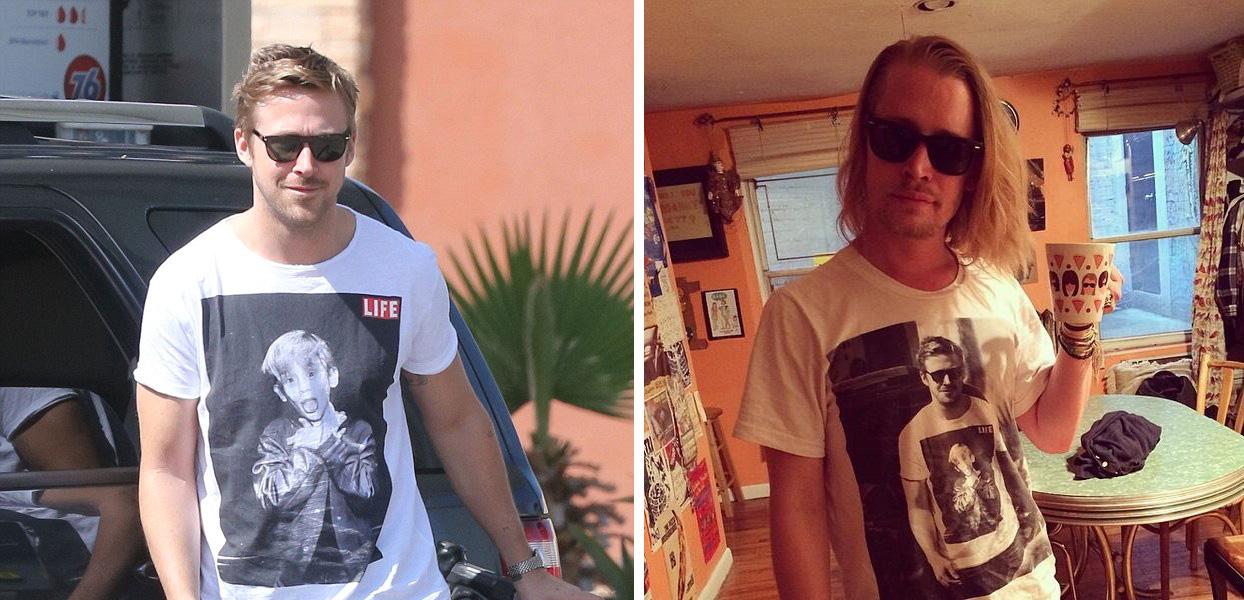 Macaulay Culkin Wears T-Shirt of Ryan Gosling Wearing T-Shirt of Macaulay Culkin