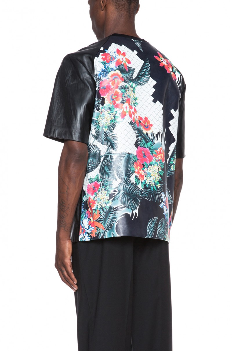 3.1 Phillip Lim Oversized Lambskin Leather Tee with Combo Back in Multi-Print