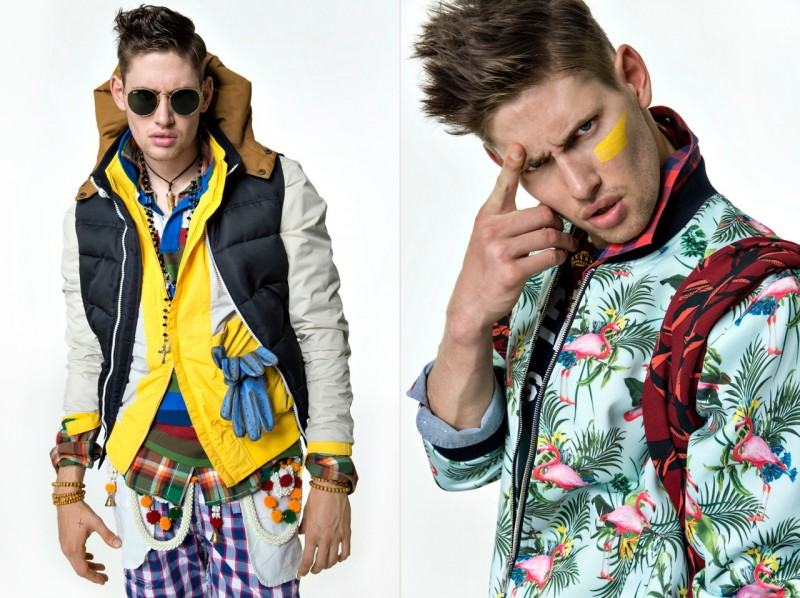 Left: Marco wears both jackets Moncler, shirt G-Star Raw, polo Marc O'Polo, pants Polo Ralph Lauren, belt India, necklaces Vatikan and Dryberg, bracelet Diesel, gloves Prada and sunglasses RayBan. Right: Marco wears top Zara, shirts Burberry and Christian Dior, t-shirt Superdry and sweater Ralph Lauren.