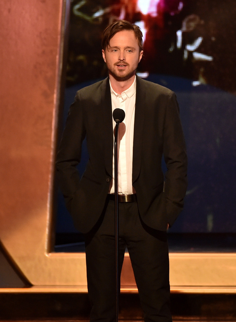 'Breaking Bad' actor Aaron Paul wears a slim-cut suit from AllSaints.