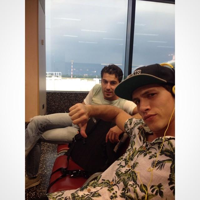 Adrian Cardoso and Antonio Navas head to the airport.