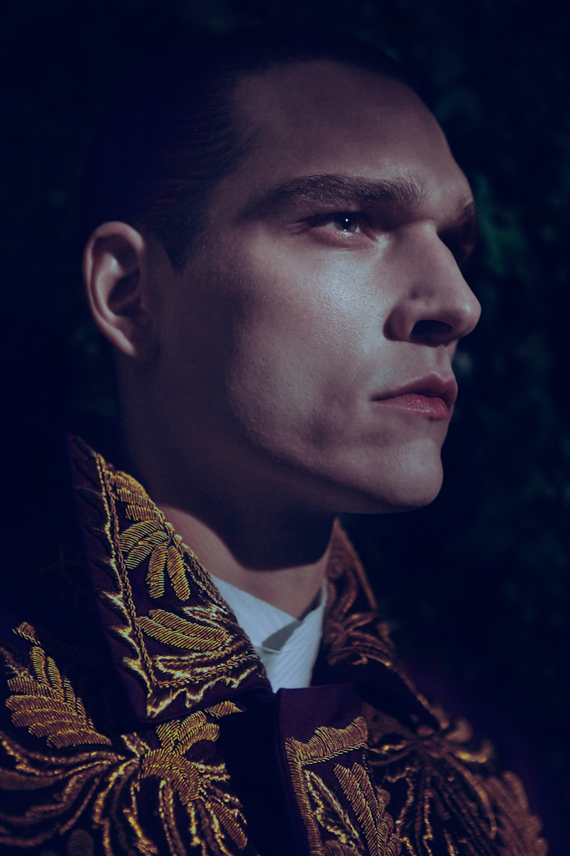 Alexandre wears shirt Emporio Armani and embroidered jacket Dries Van Noten.