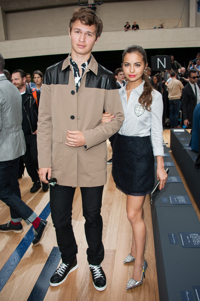 Ansel Elgort and his girlfriend Violetta Komyshan pose for a photo at Dior Homme's summer 2015 show.