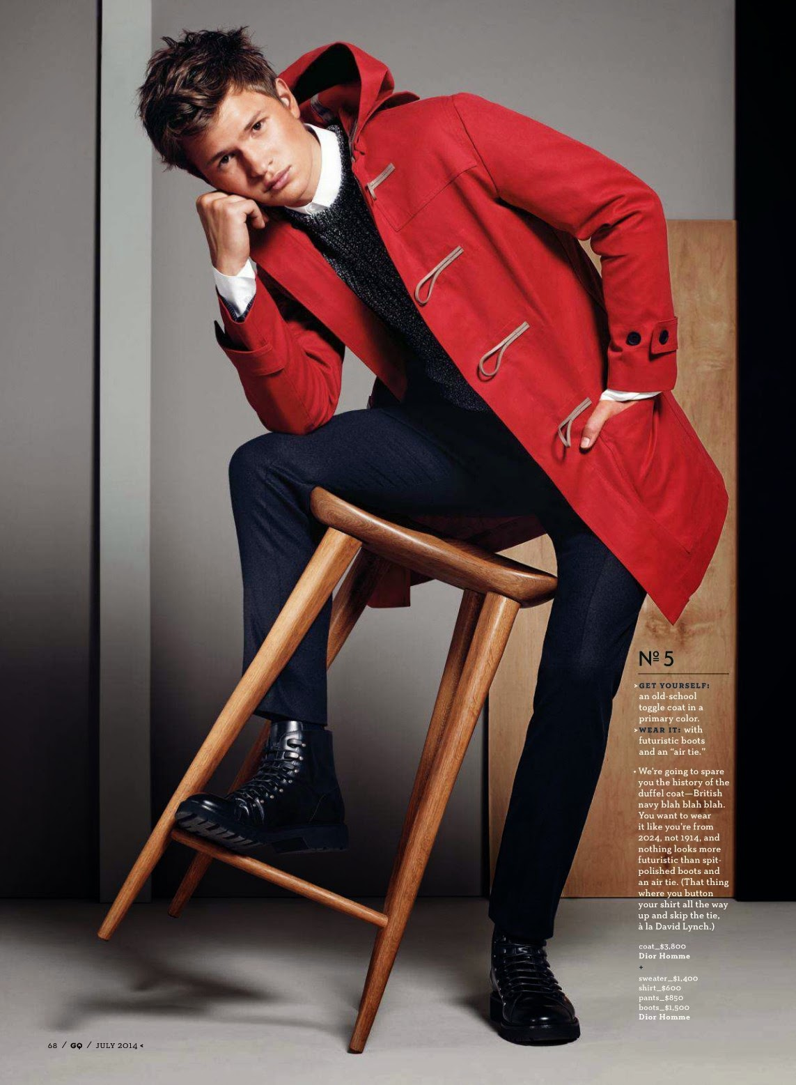 Ansel Elgort Models Fall Fashions for GQ July Issue