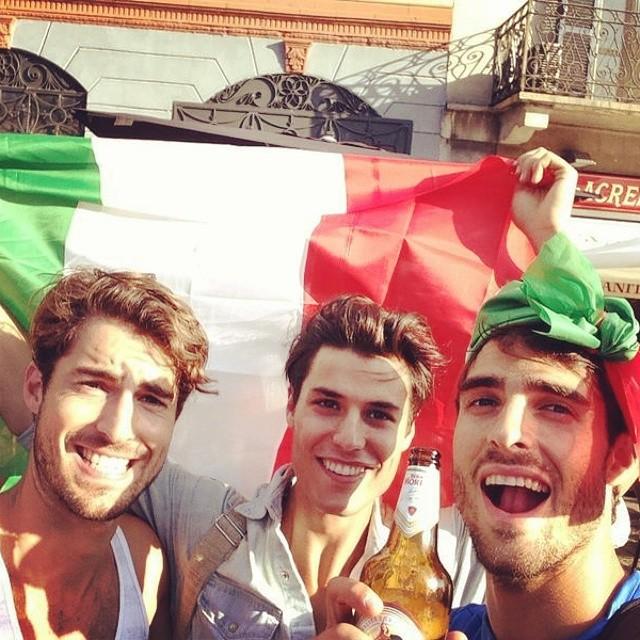 Antonio Navas, Emilio Flores and Juan Betancourt get in the spirit of the World Cup.