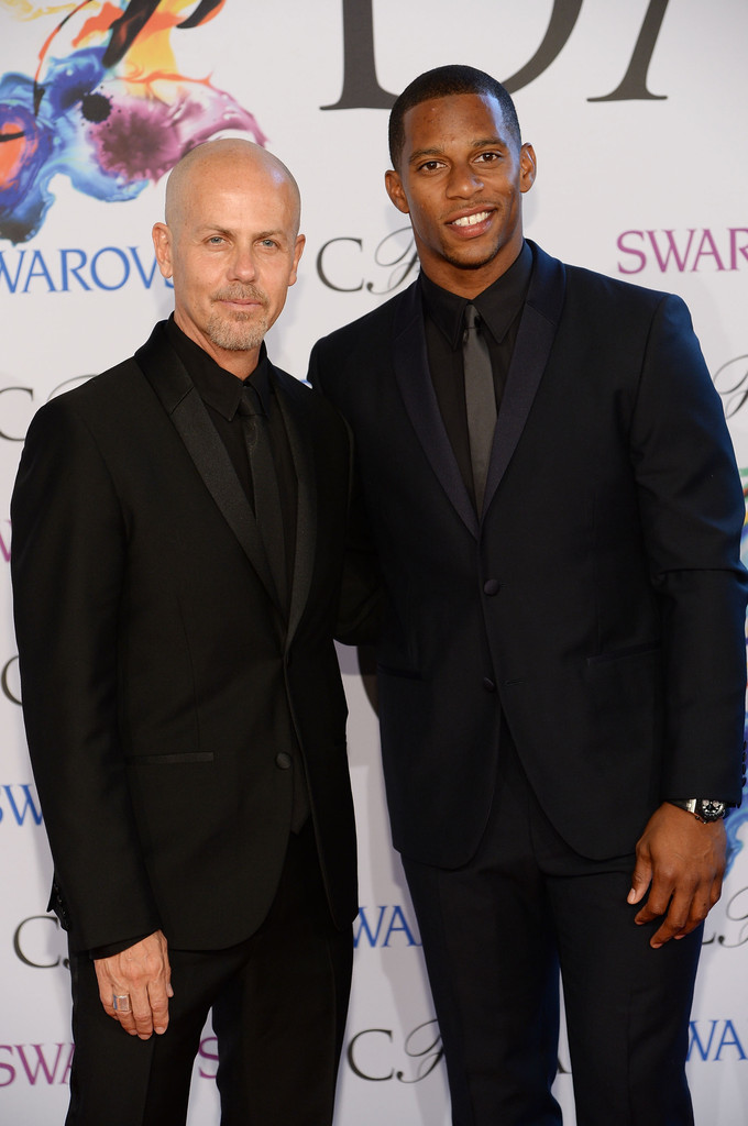 Calvin Klein Collection men's creative director Italo Zucchelli and athlete Victor Cruz