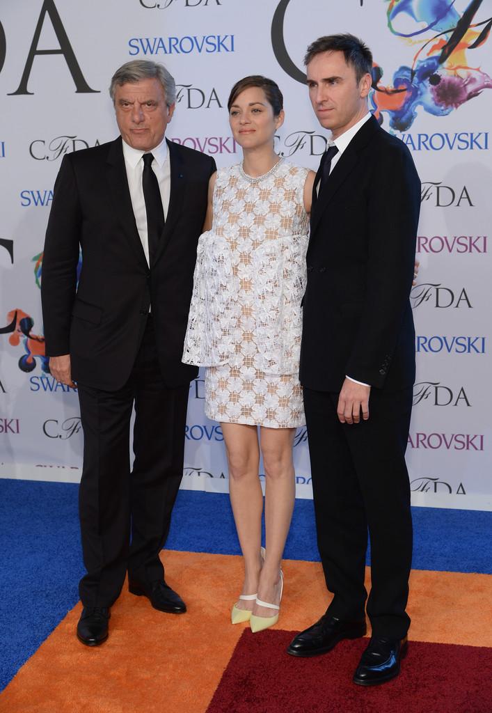 Dior CEO Sidney Toledano, actress Marion Cotillard and designer Raf Simons
