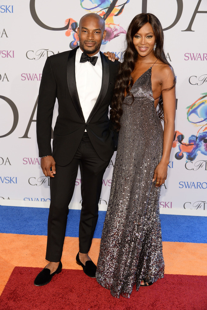 Models Tyson Beckford and Naomi Campbell