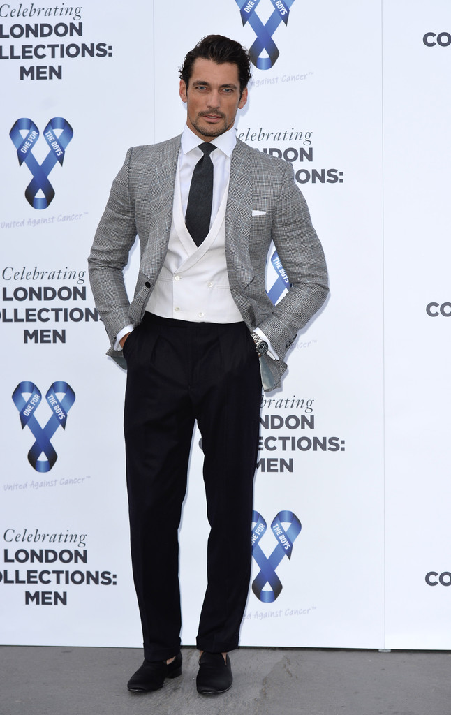 David Gandy wears a dapper evening look from Marks & Spencer to 'One For The Boys' charity ball.