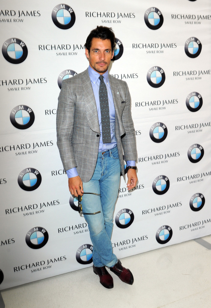 David Gandy offers a new spin on his Marks & Spencer jacket, making it casual with a pair of light washed denim jeans.
