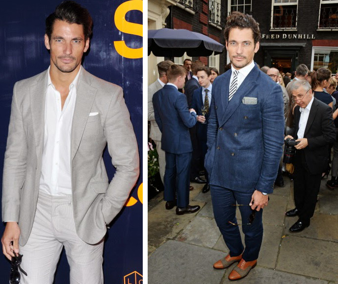 Left: David Gandy, photographed at a Superdry event, is effortlessly cool in shades of gray, the perfect color palette for summer. Right: David gives his Burberry shoes another spin with a blue suit at GQ Style's party.