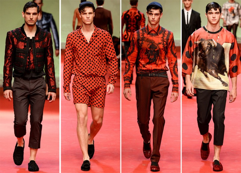 Dolce & Gabbana Spring/Summer 2015: The Italian fashion house looked to Spain and its bullfighter for a rich red vision this season.