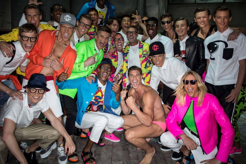 Dsquared2 designers Dan and Dean Caten pose with the models who walked their spring/summer 2015 show.