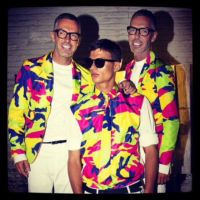 Dsquared2 twins Dan and Dean Caten get in on a camo trio.