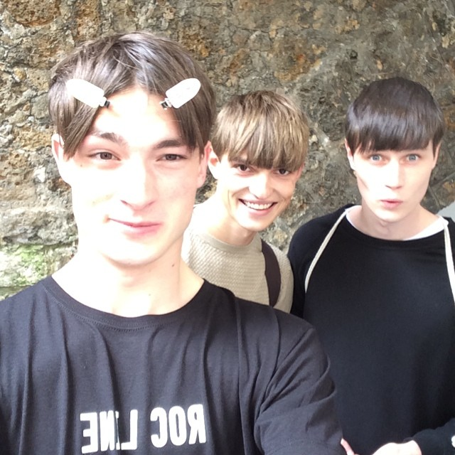 Duncan Proctor, Guerrino Santulliana and Andrew Westermann pose for a backstage selfie.