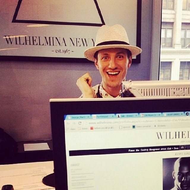Eli Hall pops in at his New York agency Wilhelmina