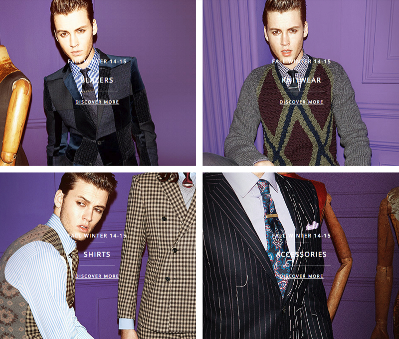 Model Alfred Kovac poses for images on Etro's e-commerce website.
